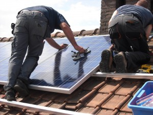 solar panels being fitted