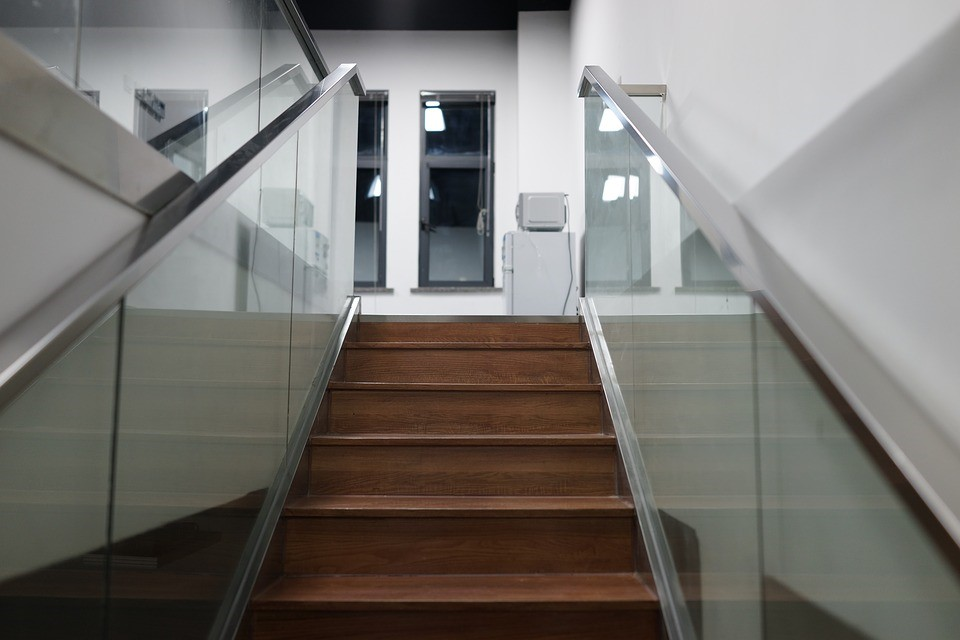 Wooden and glass industrial staircase