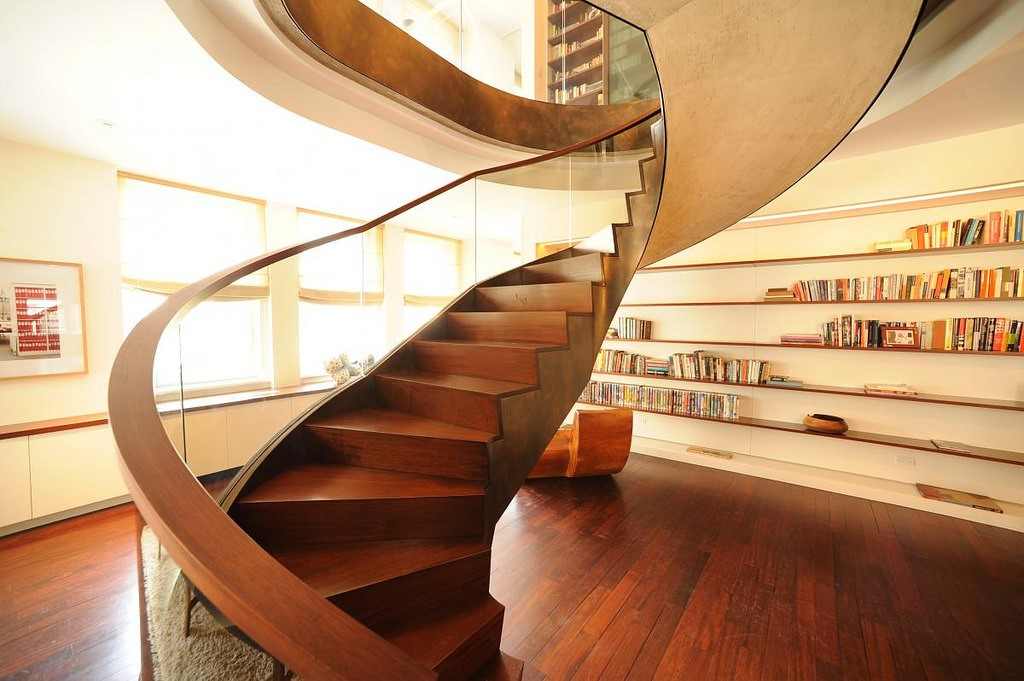 Wooden industrial design staircase