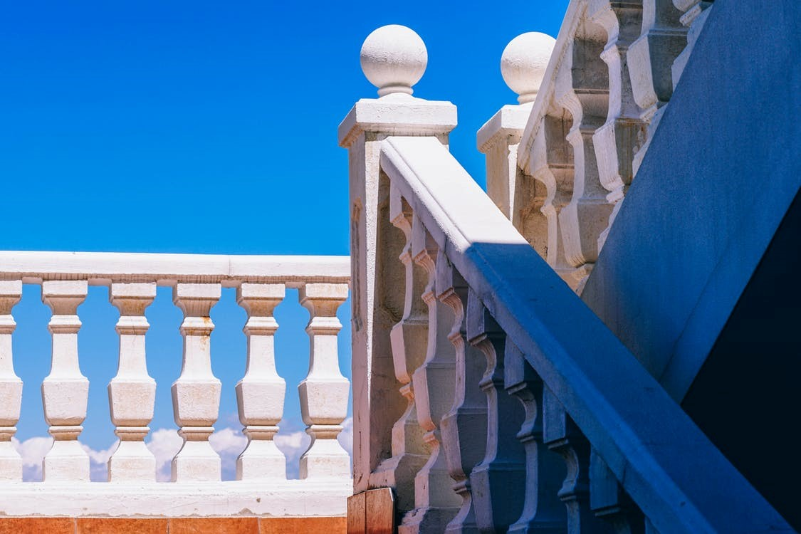 white exterior balustrade