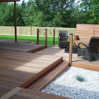 wooden decking with glass balustrades