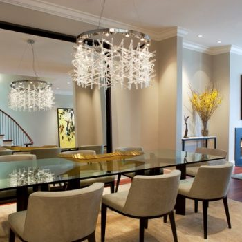 stylish dining room with large mirror