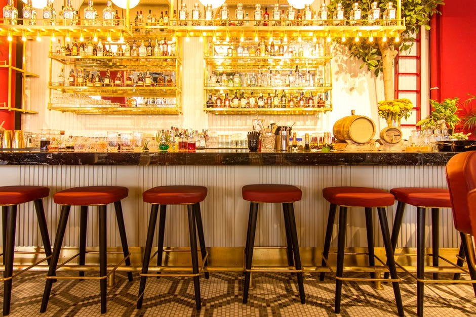 stylish bar with warm lighting