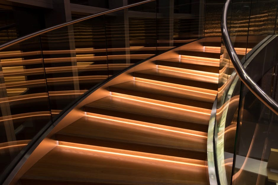 staircase with glass balustrades