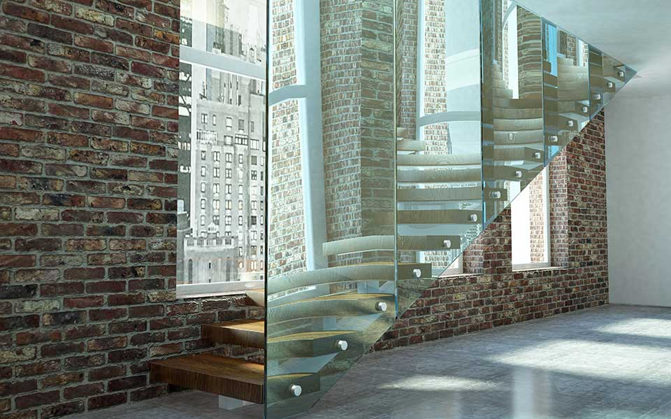 Frameless glass staircases